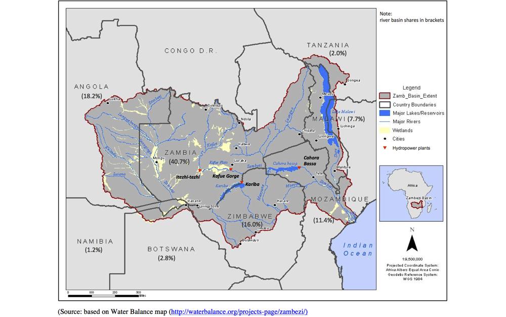 Zambezi River On Map Of Africa.Zambezi River Basin Dafne Project